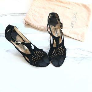 Authentic Jimmy Choo Black Suede Cutout Sandals